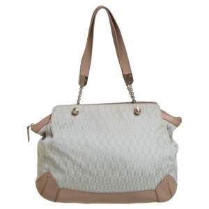 Aigner Grey/Beige Canvas And Leather Satchel