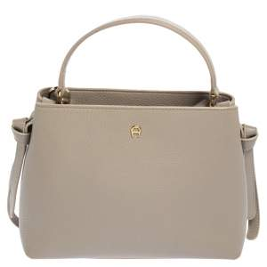 Aigner Taupe Leather Top Handle Bag