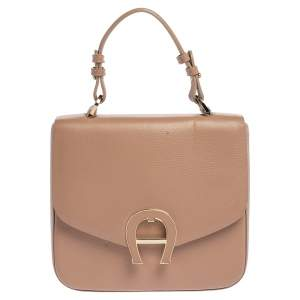 Aigner Beige Leather Pina Top Handle Bag