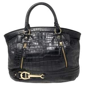 Aigner Black Croc Embossed Leather Dome Satchel