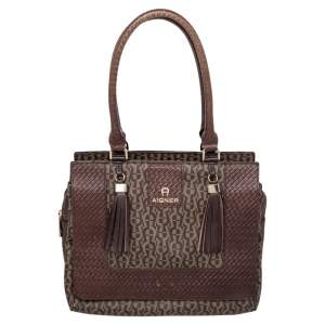 Aigner Brown Signature Canvas And Leather Tassel Satchel