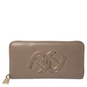 Aigner Clay Brown Leather Zip Around Wallet