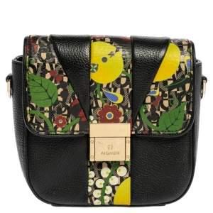 Aigner Black Leather and PVC Crossbody Bag