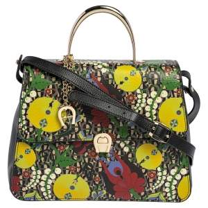 Aigner Multicolor Printed Coated Canvas and Leather Genoveva Top Handle Bag