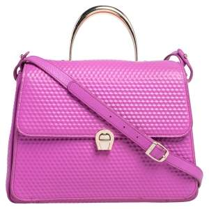 Aigner Pink Embossed Leather Genoveva M Top Handle Bag