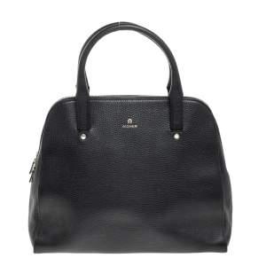 Aigner Black Leather Zip Satchel