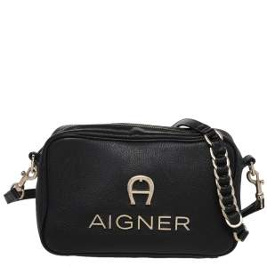 Aigner Black Leather Bombe A Camera Crossbody Bag