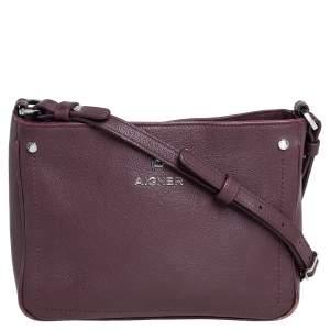 Aigner Burgundy Leather Zip Crossbody Bag