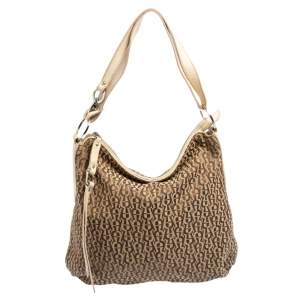 Aigner Beige/Cream Signature Canvas and Leather Zipped Hobo