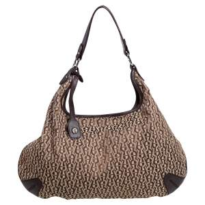 Aigner Dark Brown/Beige Signature Canvas and Leather Hobo