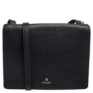 Aigner Black Grained Leather Flap Crossbody Bag