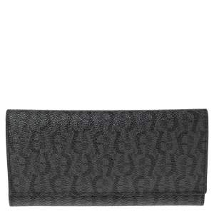 Aigner Grey/Black Signature Coated Canvas Flap Continental Wallet