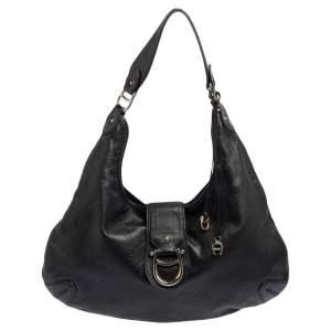Aigner Black Logo Embossed Leather Hobo