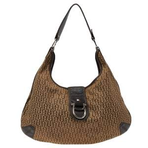 Aigner Beige/Brown Signature Canvas And Leather Hobo