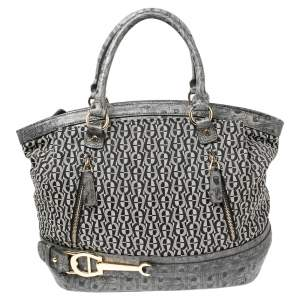 Aigner Black/Grey Signature Canvas and Embossed Leather Zip Satchel