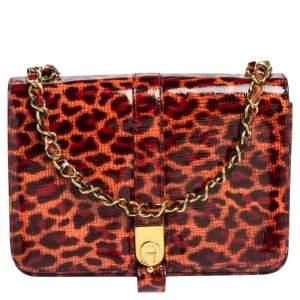 Aigner Red/Peach Leopard Print Patent Leather Flap Chain Shoulder Bag