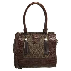 Aigner Brown Signature  Coated Canvas and Leather Tassel Satchel