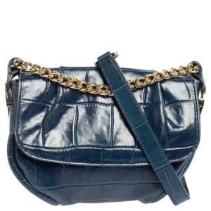 Aigner Blue Croc Embossed Leather Flap Chain Shoulder Bag