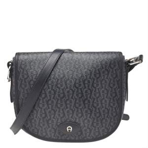 Aigner Grey/Black Signature Coated Canvas And Leather Flap Messenger Bag