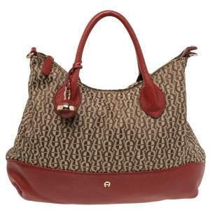 Aigner Beige/Red Signature Canvas and Leather Top Zip Hobo