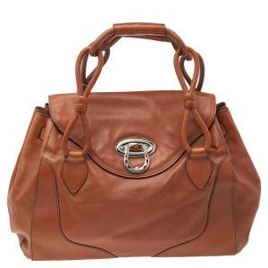Aigner Brown Leather Flap Satchel