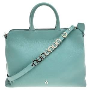 Aigner Mint Blue Leather Shoulder Bag