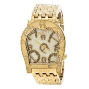 Aigner Yellow Mother of Pearl Gold Plated Steel Ravenna Nuovo A25100 Women's Wristwatch 33 mm