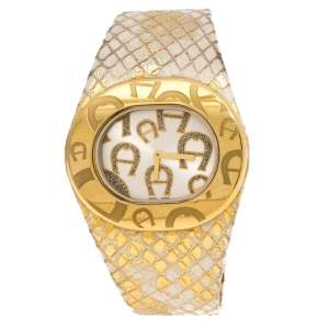 Aigner Silver Gold Plated Stainless Steel Ravello Due A21000 Women's Wristwatch 43MM