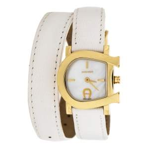 Aigner White Mother of Pearl Gold Plated Stainless Steel Genua Due A31000 Women's Wristwatch 27 mm