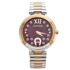 Aigner Magenta Mother of Pearl Two-Tone Stainless Steel Gorizia A106200 Women's Wristwatch 33 mm