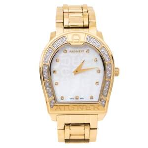 Aigner Mother Of Pearl Gold Plated Stainless Steel Verona A48100 Women's Wristwatch 33 mm