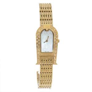 Aigner Mother of Pearl Gold Plated Stainless Steel Diamond Olbia A29000 Women's Wristwatch 21 mm