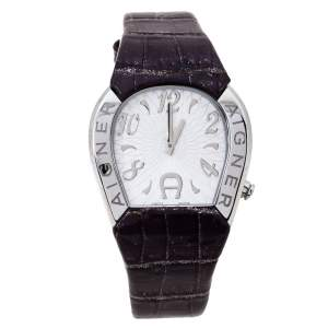 Aigner Silver Stainless Steel and Leather Cremona A40200 Women's Wristwatch 36 mm