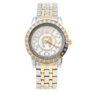 Aigner White Mother of Pearl Two-Tone Stainless Steel Cortina A26300 Women's Wristwatch 36 mm