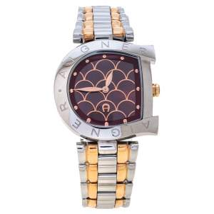 Aigner Red Two-Tone Stainless Steel Arco A34323 Women's Wristwatch 32 mm