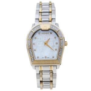 Aigner Mother Of Pearl Two-Tone Stainless Steel Diamond Verona A48100 Women's Wristwatch 33 mm