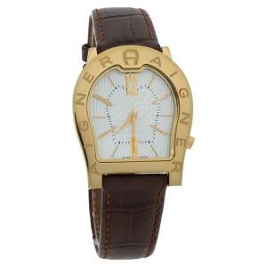 Aigner Silver Yellow Gold Plated Stainless Steel Leather Verona Nuovo A22100 Women's Wristwatch 33 mm