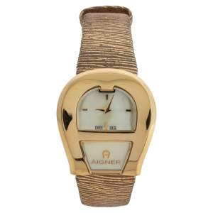 Aigner Mother Of Pearl Yellow Gold Plated Stainless Steel Venezia A39200 Women's Wristwatch 36 mm