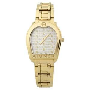 Aigner White Mother of Pearl Gold Plated Stainless Steel Verona A48100 Women's Wristwatch 33MM
