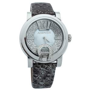 Aigner Mother Of Pearl Stainless Steel Leather Diamond Bari Donna A37200 Women's Wristwatch 41 mm
