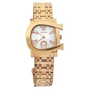 ساعة يد نسائية أيغنر جنوا دو أيه31600 ستانلس ستيل مطلي ذهب أصفر فضية 31 مم