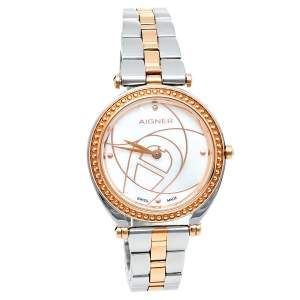 Aigner Mother Of Pearl Two-Tone Stainless Steel Magena A121208 Women's Wristwatch 32 mm