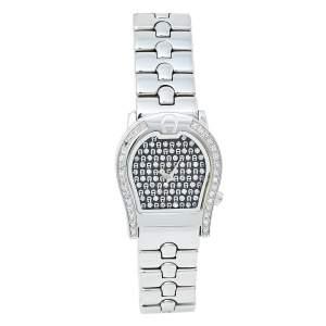 ساعة يد نسائية أيغنر فيرونا ايه01200 ألماس و ستانلس ستيل سوداء 24 مم
