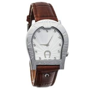 ساعة يد نسائية أيغنر فيرونا نوفو ايه22100 جلد و ستانلس ستيل فضية 33 مم