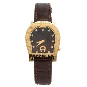 Aigner Brown Yellow Gold Plated Stainless Steel Leather Verona Nuovo A22400 Women's Wristwatch 30 mm