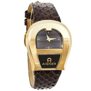 Aigner Brown Gold Plated Stainless Steel Leather Venezia A39200 Women's Wristwatch 36 mm