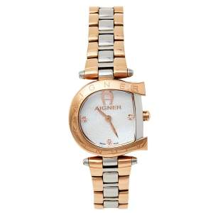 Aigner Mother Of Pearl Two-Tone Stainless Steel Arco A34200 Women's Wristwatch 26 mm