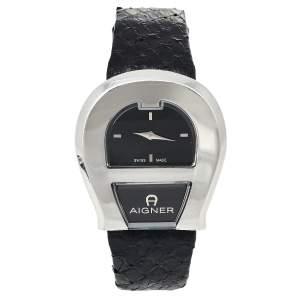 ساعة يد نسائية أيغنر فنزيا أيه39200 جلد ستانلس ستيل أسود 36 مم