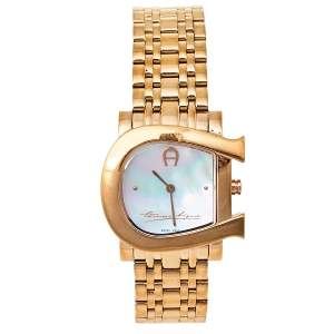 Aigner Mother of Pearl Gold Tone Stainless Steel Genua Due A31600 Women's Wristwatch 31 mm
