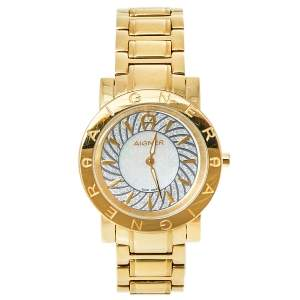 Aigner Silver Gold Plated Stainless Steel Cortina A26300 Women's Wristwatch 36 mm